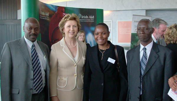 President McAleese with (from left to right) Prof. Eli Katunguka-Rwakishaya, Dr Mary Goretti Nakabugo and Vice-Chancellor Professor Livingston Luboobi, all from Makerere University, Kampala, Uganda.