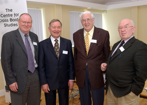 Photo taken at the Centre for Cross Border Studies/Atlantic Philanthropies North/South Study Day on Older People (from left to right): Ken Logue (Atlantic Philanthropies), Dr James McKenna (former Chief Medical Officer for Northern Ireland), Dr Garret FitzGerald (keynote speaker) and Mr Paddy-Joe McClean.
