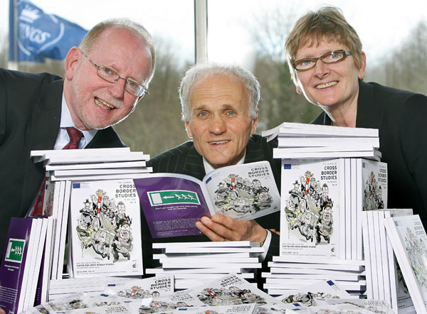 From left to right: Bruce Robinson, Head of the Northern Ireland Civil Service, Andy Pollak, Director of the Centre for Cross Border Studies, and Mary Bunting, Northern Joint Secretary of the North/South Ministerial Council, at the launch of the 2009 Journal of Cross Border Studies in Ireland and the INTERREG-funded INICCO research programme.